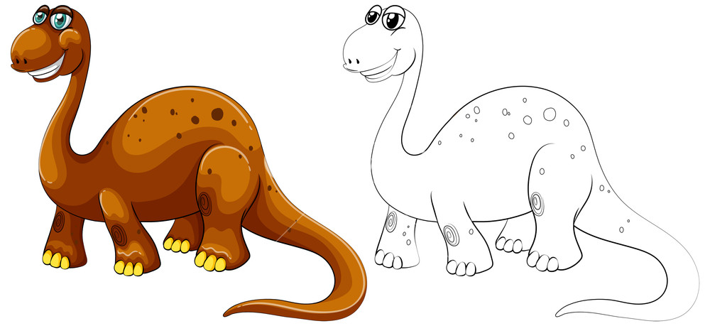 1000x459 Animal Outline For Long Neck Dinosaur Royalty Free Stock Image