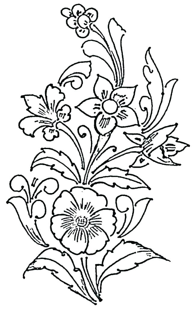 646x1024 Flower Drawing Outline Download Vector With Lotus Images Drawn