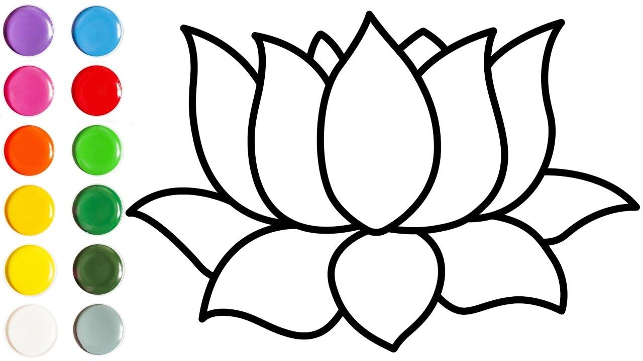 1280x720 How To Draw A Lotus Drawing For Kids Learn How To Draw Easy