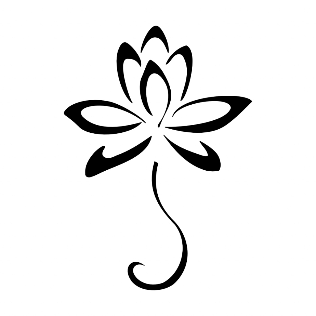 1024x1024 Simple Lotus Flower Drawing Tattoo
