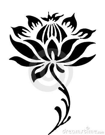 350x450 Illustration Drawing Of Beautiful Black Lotus Flower Pattern