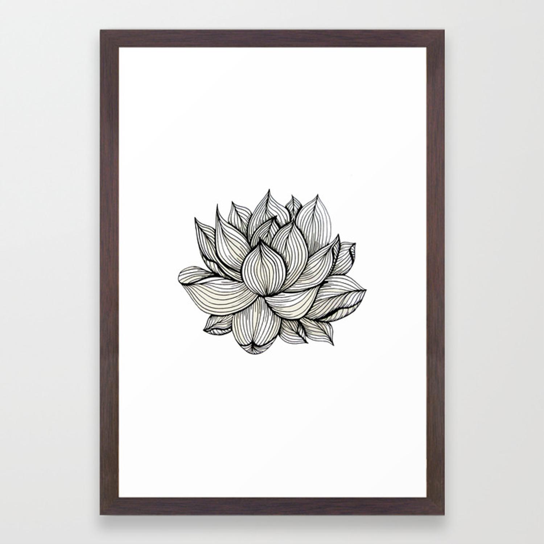 1500x1500 Lotus Flower, Black And White, Nature, Organic Design, Drawing