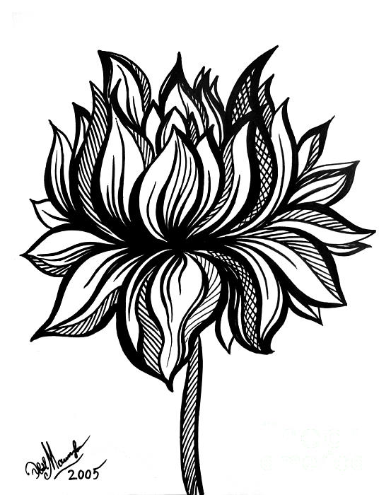 553x700 Lotus Flower Black White Drawing Tote Bag For Sale