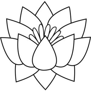 300x300 Lotus Flower Clipart Black White