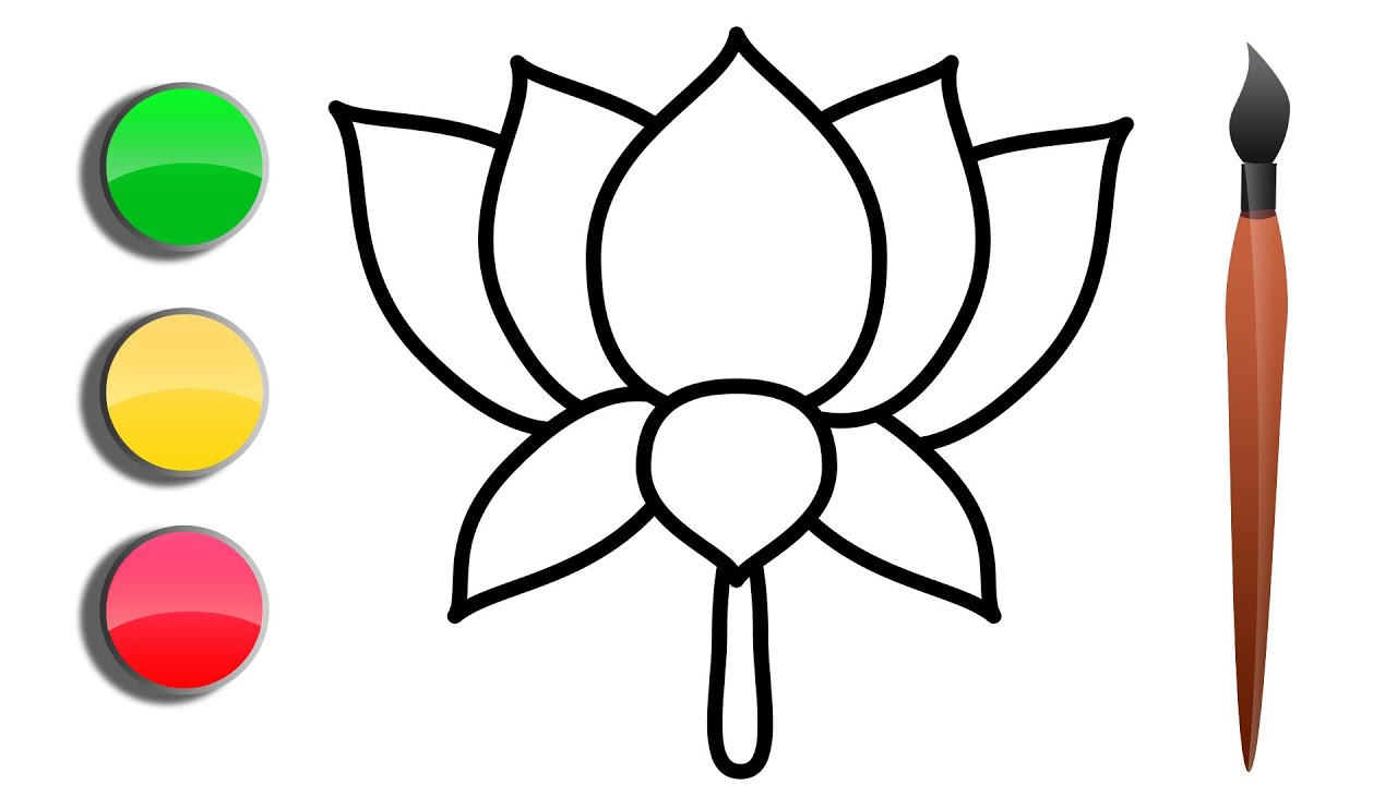 1280x720 How To Draw A Sketch And Color Paint A Lotus Flower Drawing