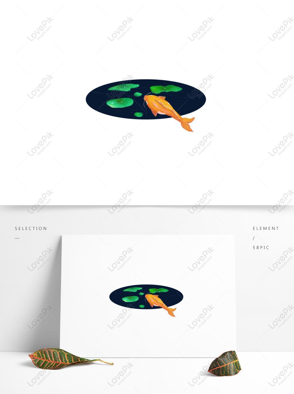 1024x1369 Green Lotus Leaf Koi Hand Drawn Illustration Decorative Element