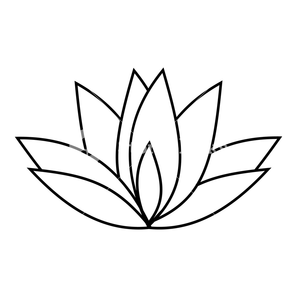 1000x1000 Lotus Icon Outline Illustration Of Lotus Icon For Web Royalty