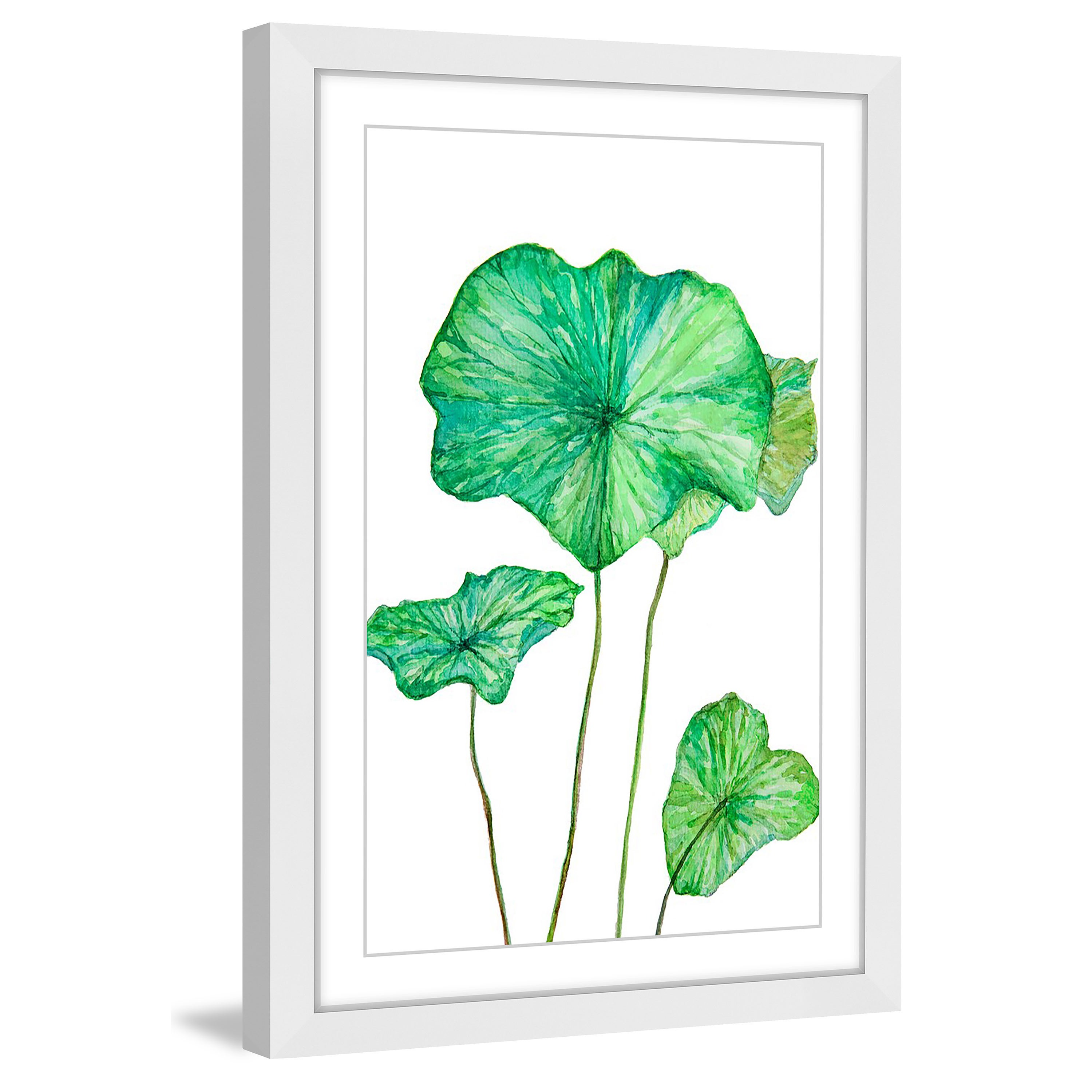 3000x3000 Shop Marmont Hill 'lotus Leaf' Framed Painting Print