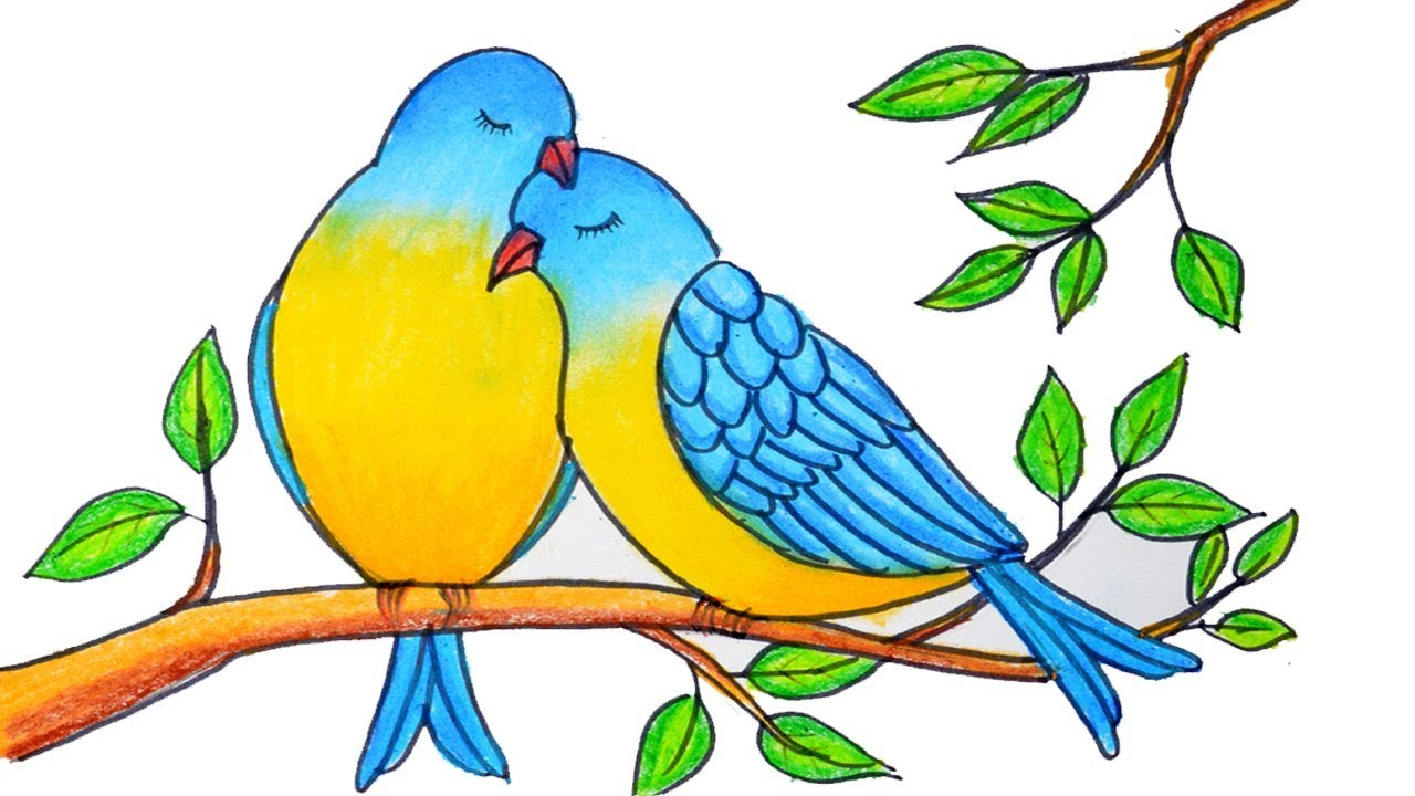 1280x720 How To Draw Two Birds In Love Step