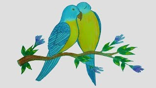 320x180 Love Birds Drawing Easy Video Clip
