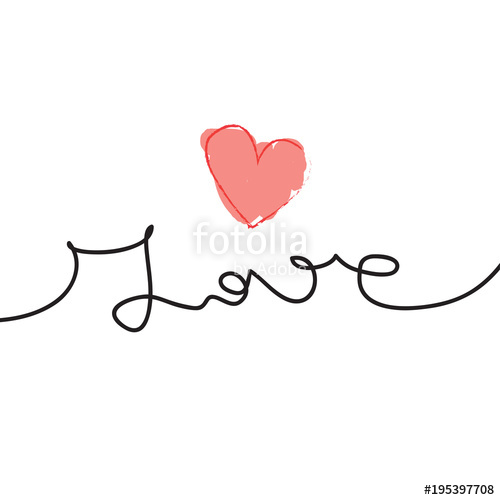 500x500 Continuous Line Drawing Of Word Love Love Vector Illustration