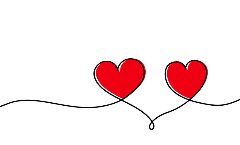 809x490 Continuous One Line Drawing Of Red Heart Isolated On White