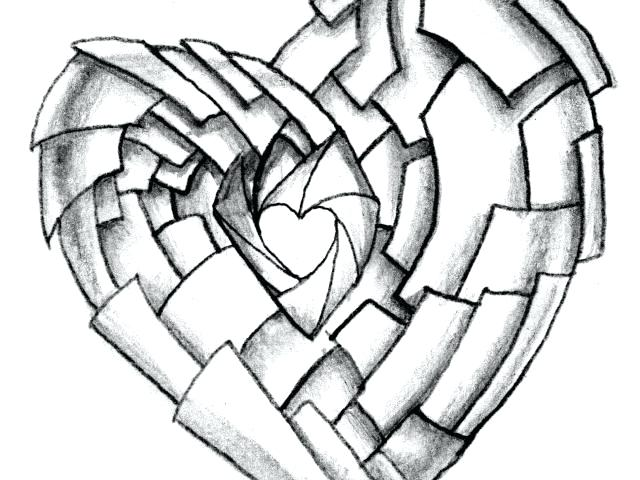 640x480 Drawing Of I Love You On A Heart Pencil Sketch Love Heart Zupa