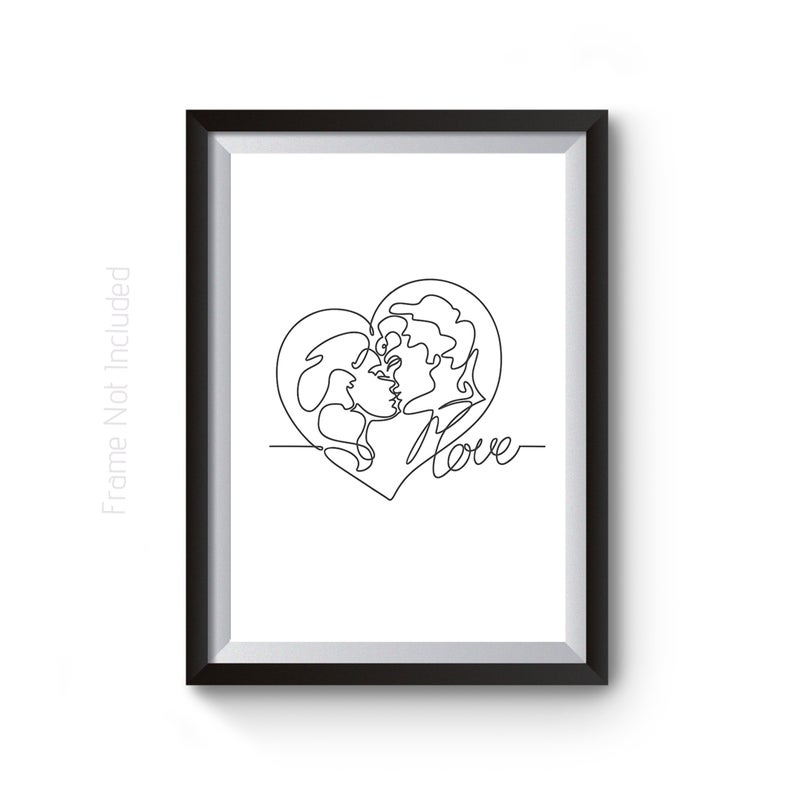794x794 First Kiss Print Romantic Couple Line Drawing Love Heart Etsy