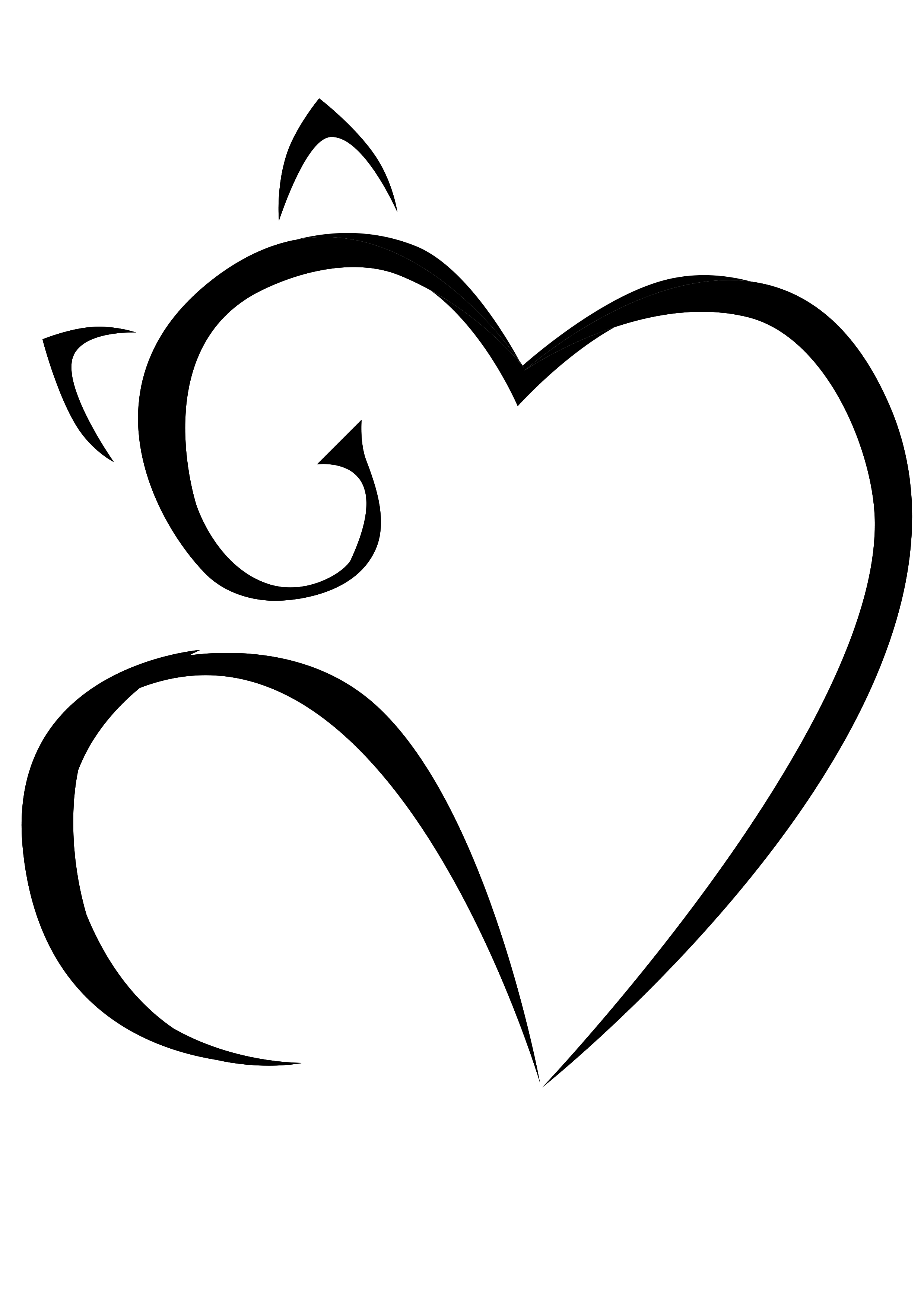 2481x3507 Cat Line Drawing With Heart Coeur Tattoos, Cat Tattoo, Drawings