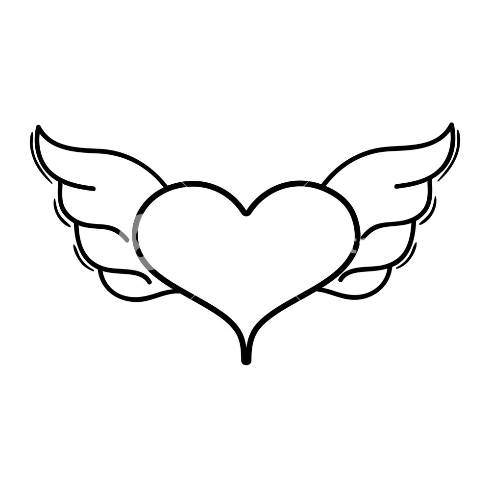 1000x1000 Line Heart With Wings Symbol Love Art Vector Illustration Royalty