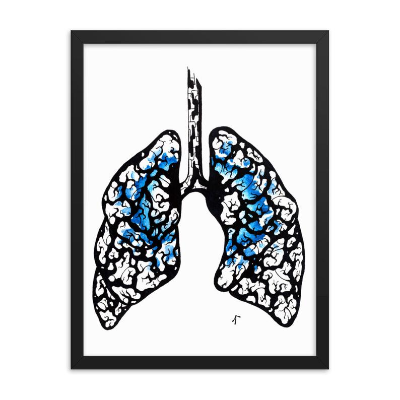 794x794 Intricate Lungs With Color Burst Ink And Watercolor Drawing Etsy
