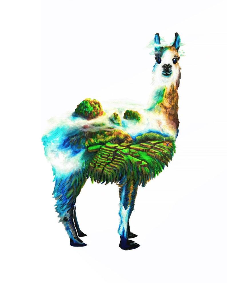 794x993 Llama Watercolor Landscape Cute Alpaca Machu Picchu Peru Etsy