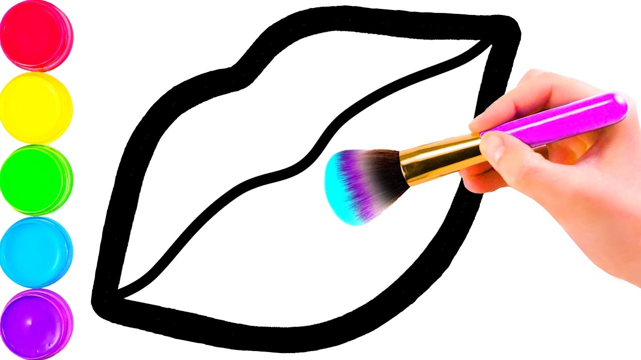 1280x720 Glitter Toy Lips With Makeup Brush Set Coloring And Drawing