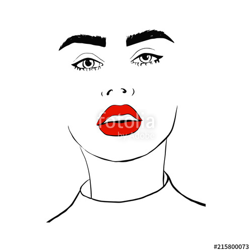 500x500 fashion woman with red lips sketch fashion face woman portrait