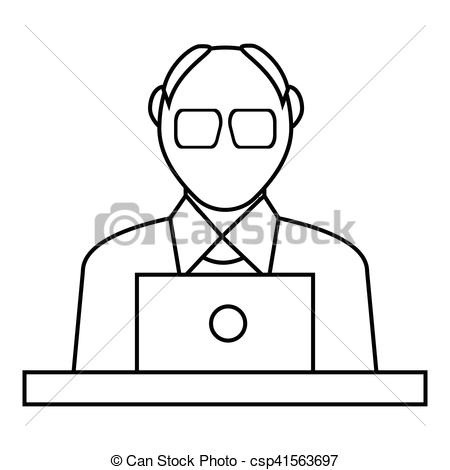 450x470 male consultant icon, outline style male consultant icon outline
