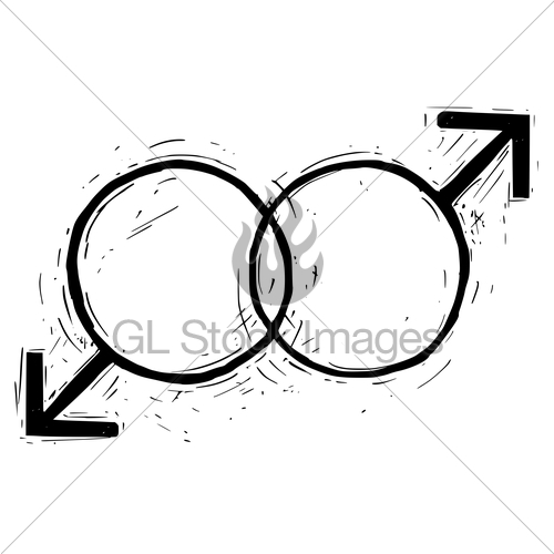 500x500 hand drawing male and male symbol illustration gl stock images