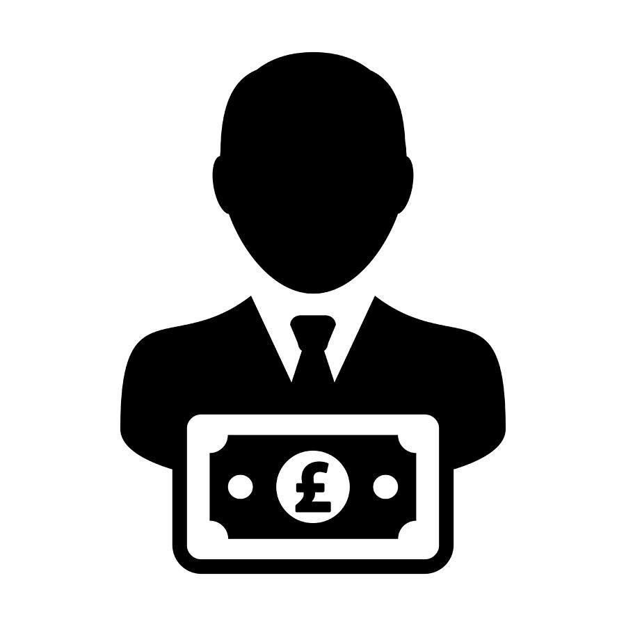 900x900 Money Icon Vector Male User Person Profile Avatar With Pound Sign