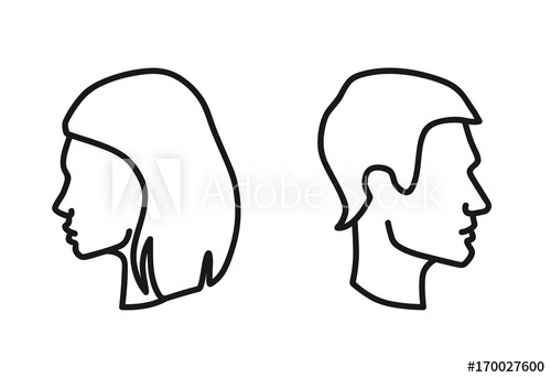 500x343 Vector Isolated Man And Woman Heads In Profile Outline Icon