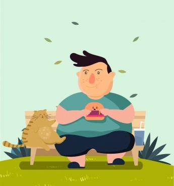 345x368 Fat Man Drawing Cartoon Free Vector Download