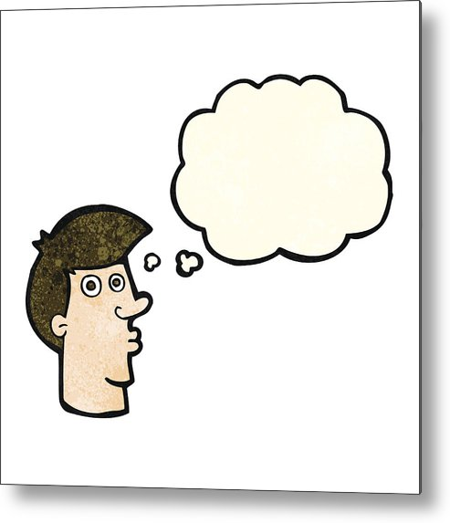 493x573 Cartoon Confused Man With Thought Bubble Metal Print