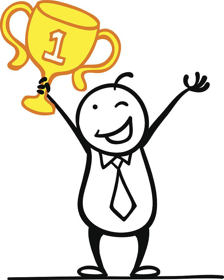 722x900 Cartoon Man Win A First Runner Up Drawing