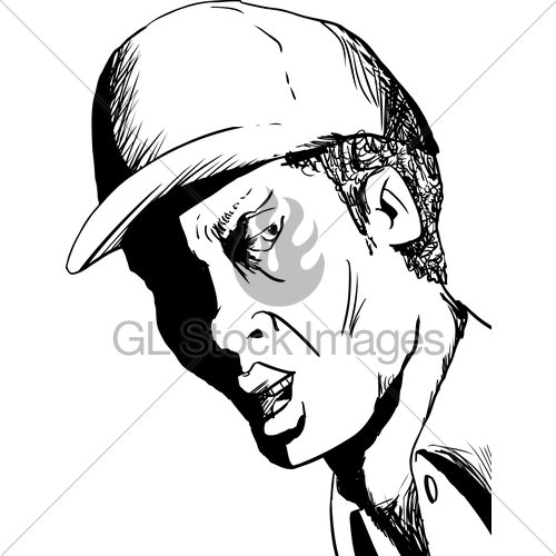 500x500 Outline Of Man In Hat Talking Gl Stock Images