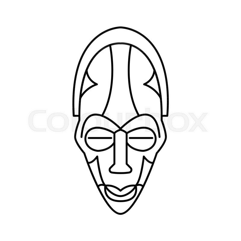 800x800 Zulu Man Face Icon Outline Zulu Man Stock Vector Colourbox