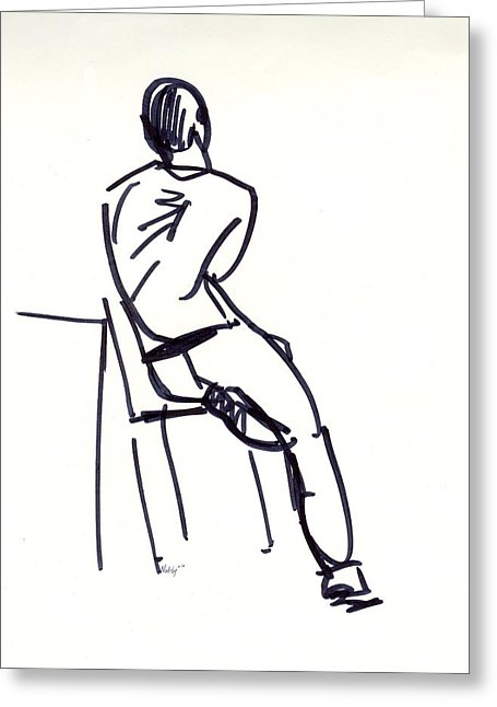 455x646 Man On Stool Drawing