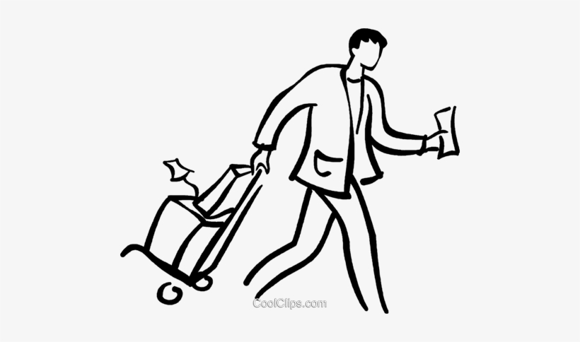 820x484 Man Walking With Luggage Royalty Free Vector Clip Art