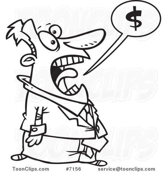581x600 Cartoon Black And White Line Drawing Of A Business Man Shouting
