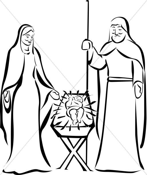 513x612 beside the manger in black and white manger clipart