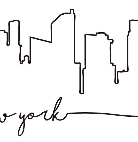 570x588 nyc skyline print, new york city skyline outline poster, city