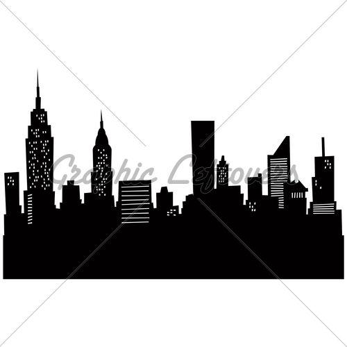 500x500 Cartoon Skyline Silhouette Of New York City Random Nyc