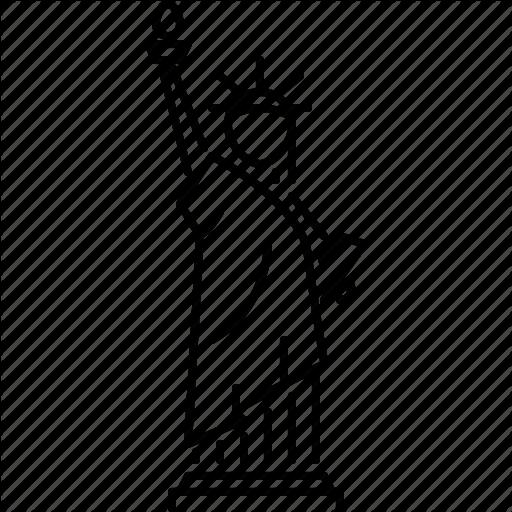 512x512 Manhattan Drawing Liberty Line Frames Illustrations Hd