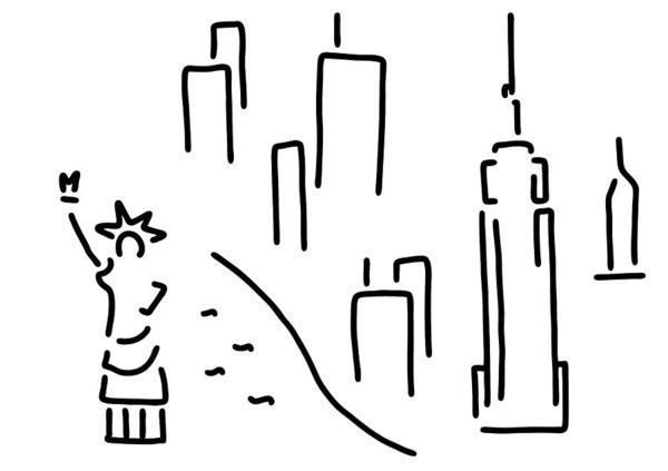 600x423 New York Skyline Black And White Drawings Fine Art America
