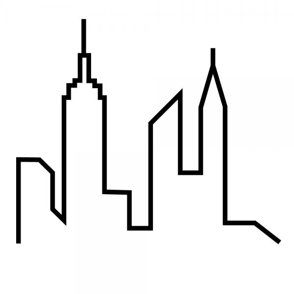 600x600 Cartoon Manhattan Skyline Cartoon Skyline Of New York City, Usa