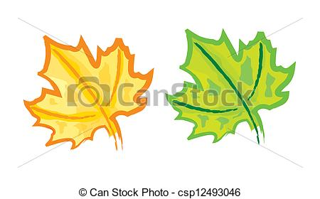 450x280 Hand Drawing Maple Leaf Set