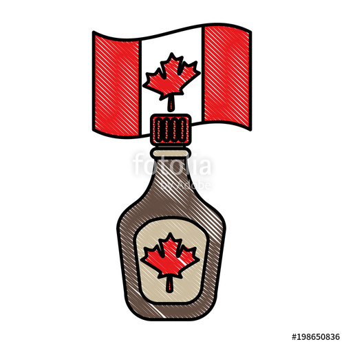 500x500 Bottle Syrup Maple And Canadian Flag Vector Illustration Design