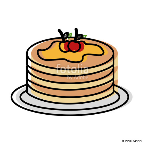 500x500 Pancake Syrup Maple On Dish Food Vector Illustration Drawing Color