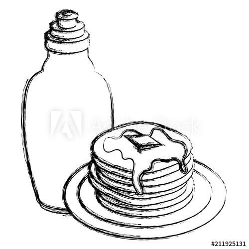 500x500 Pancakes With Syrup Maple Vector Illustration Design