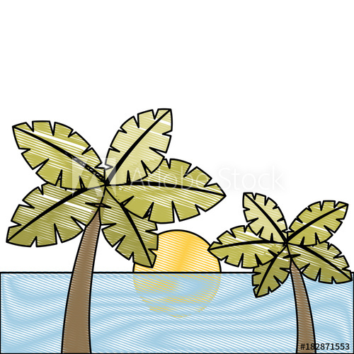 500x500 Tropical Two Palm Trees And Sun Ocean Paradise Vector Illustration