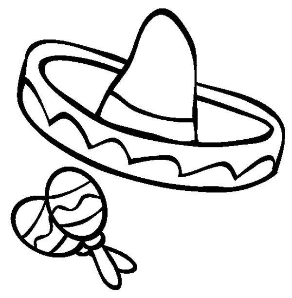 600x612 mexican fiesta, mexica sombrero and maracas in mexican fiesta