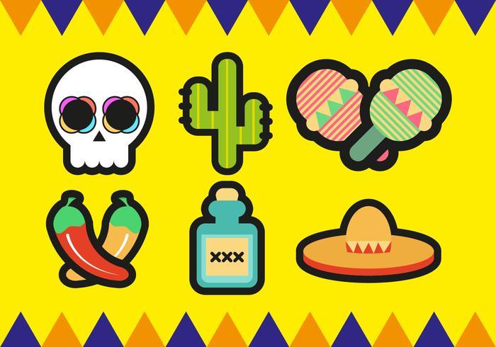 700x490 Mariachi Mexican Minimalist Icons Vector