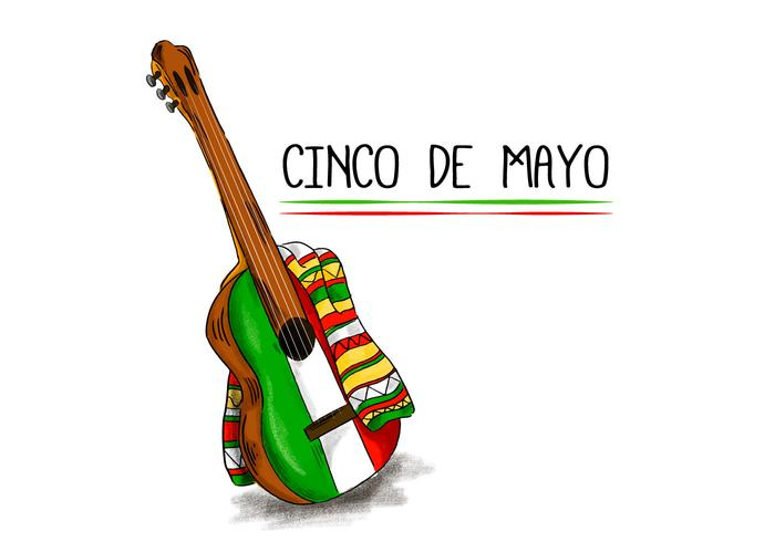 700x490 Colorful Mariachi Guitar With Flat Mexican Color